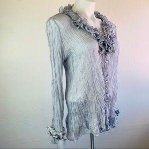 Pretty Angel Tops - Pretty Angel Silver Blouse Size L